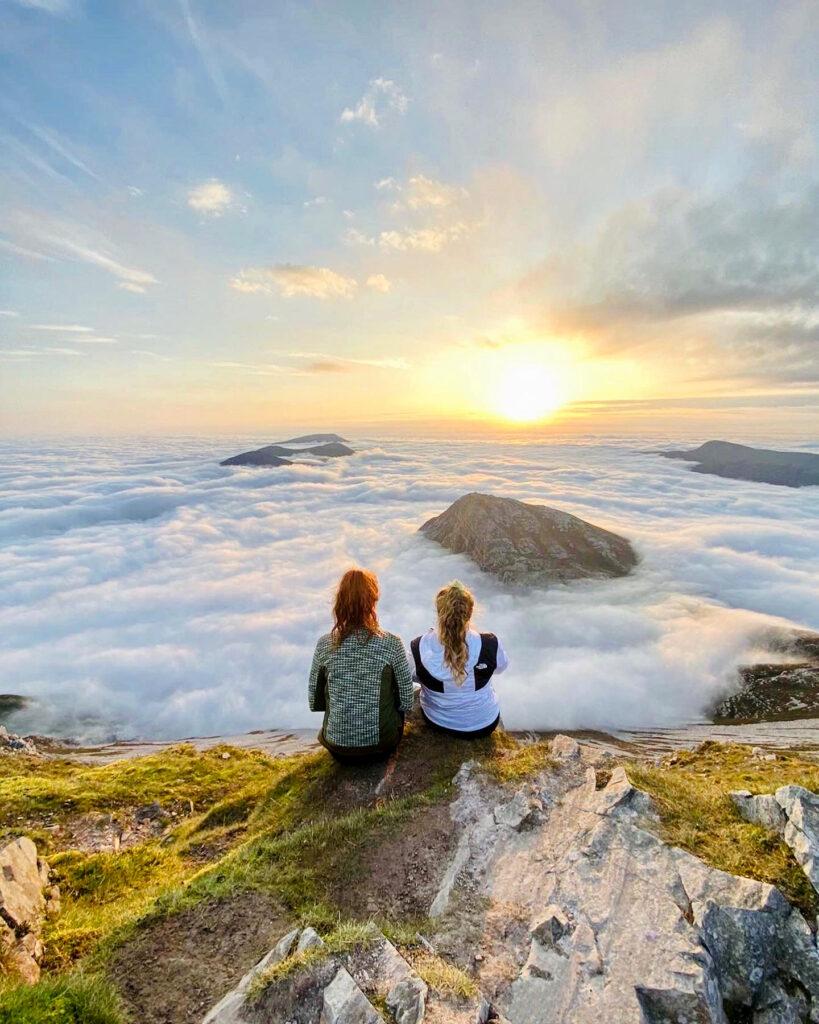 Two girla on Mount Errigal, Donegal, Ireland.